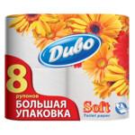 Туалетная бумага Диво Soft, 8 рул, на гильзе, 2 слоя, белый (тп.дв8б)