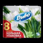 Туалетная бумага Диво Econom, 8 рул, на гильзе, 2 слоя, белый (тп.де.8б)