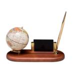 Глобус на деревянной подставке Bestar, темная вишня, 95 мм + шариковая ручка (0930HDV)