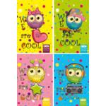 Блокнот на пружине сверху Zibi Kids Line, А6, 40л., Cool Owls, картонная обложка (ZB.12132)