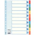 Разделители Esselte картонные цветные, А4, 10 разделов (100193)