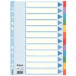 Разделители Esselte картонные цветные, А4, 12 разделов (100194)