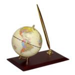 Глобус на деревянной подставке Bestar, орех, 95 мм + шариковая ручка (0910WDN)