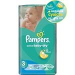 Подгузники Pampers Active Baby-Dry Размер 3 (Midi) 5-9 кг, 58шт (4015400735625)