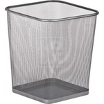 Корзина для бумаг Buromax, квадратная, 270x270x310мм, металлическая, серебро