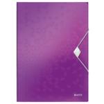 Папка-бокс на резинке Leitz WOW A4 фиолетовый металлик (4599-00-62)