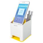 Пластиковая подставка для ручек и смартфона Leitz WOW квадратная, желтая (5363-10-16)