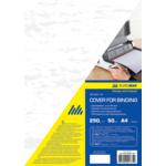 Обложки картонные Buromax, под кожу, белый, А4, 250 г/м2, 50 шт (BM.0580-12)