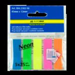 Закладки пластиковые с клейким слоем Buromax BM.2302-98, 45х12 мм, 5х25 л, неон, ассорти
