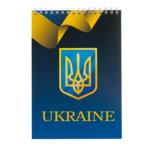 Блокнот на пружине сверху Buromax Ukraine А5 48л в клетка картонная обложка синий (BM.24545104-02)