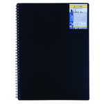 Книга для записей на пружине Buromax Classic, А6, 80 л, клетка, пласт. обложка, черный (BM.2589-001)