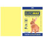 Бумага цветная Buromax, А4, 80г/м2, PASTEL, желтый, 20 листов (BM.2721220-08)