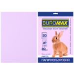 Бумага цветная Buromax, А4, 80г/м2, PASTEL, лавандовый, 20 листов (BM.2721220-39)
