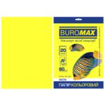 Бумага цветная Buromax, А4, 80г/м2, NEON, желтый, 20 листов (BM.2721520-08)