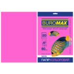 Бумага цветная Buromax, А4, 80г/м2, NEON, малиновий, 20 листов (BM.2721520-29)