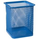 Подставка для ручек Buromax квадратная 80х80х95мм, металлическая, синий (BM.6201-02)