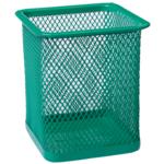 Подставка для ручек Buromax квадратная 80х80х95мм, металлическая, зеленый (BM.6201-04)