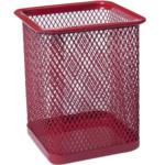 Подставка для ручек Buromax квадратная 80х80х95мм, металлическая, красный (BM.6201-05)