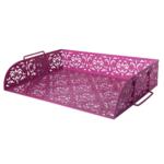 Лоток для бумаг горизонтальный Buromaх Barocco, металлический, розовый (BM.6253-10)