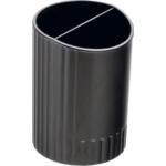 Стакан пластиковый для ручек Buromax, круглый на два отделения, черный (BM.6350-01)