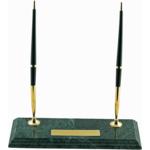 Подставка настольная для 2-х шариковых ручек из зелёного мрамора (BM.6650)