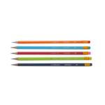 Карандаш графитовый Buromax, HB, ластик, ассорти с белой полосой (BM.8503)