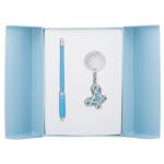 Набор подарочный Langres Night Moth: ручка шариковая + брелок, синий (LS.122018-02)