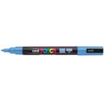 Маркер для всех типов поверхности Uni Posca, 0,9-1,3 мм, небесно-голубой (PC-3M.Sk.Blue)