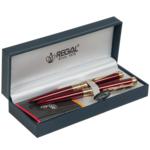 Комплект ручек Regal (перьевая+роллер) в подарочном футляре L, бордовый  (R35501.L.RF)