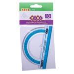 Транспортир пластиковый ZiBi, 100 мм, с голубой полоской, блистер (ZB.5640-14)