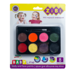 Краски ZiBi для грима лица и тела ФАНТАЗИЯ на водной основе, 8 цветов, 80 гр, BABY Line (ZB.6567)