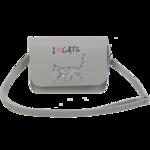 Сумка на плечо маленькая ZiBi CAT LOVER, 19x15x6,5 см, серая (декор: глиттерный кот) (ZB.702402)