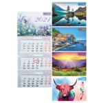 Календарь настенный квартальный Buromax на 2021 г. 298х630 мм на 3-х пружинах (BM.2105)