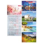 Календарь настенный квартальный Buromax на 2021 г. 297х630 мм на 1 пружине (BM.2106)