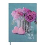 Ежедневник датированный 2021 Buromax Romantic A5 336 с. Бирюзовый (BM.2170-06)