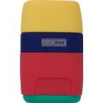 Ластик+точилка Buromax RUBBER TOUCH, 2 отв., пласт. корпус, контейнер, ассорти цветов (BM.4771)