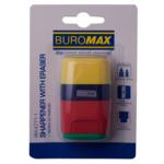 Ластик+точилка Buromax RUBBER TOUCH, 2 отв., пласт. корпус, контейнер, 1шт. (блистер) (BM.4771-1)