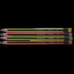 Карандаш графитовый Buromax Neon Line HB с трехгранным деревянным корпусом с неоновыми полосками с ластиком (BM.8508)