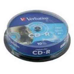 Диск CD-R Verbatim, 700 Mb, 52 х, 80 min, Cake (10), Extra, 10 шт