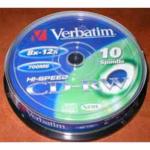 Диск CD-RW Verbatim, 700 Mb,12-24 х, Cake (10), 10 шт