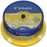 Диск DVD+RW Verbatim, 4.7 Gb, 4 х, Cake (25), Silver