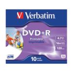 Диск DVD+R Verbatim, 4.7 Gb,16 х, Printable, Case (10)
