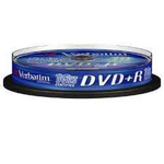 Диск DVD+R Verbatim, 4.7 Gb,16 х, Cake (10), Silver, 10 шт