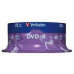 Диск DVD+R Verbatim, 4.7 Gb,16 х, Cake (25), Silver
