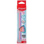 Карандаш графитовый Maped Black Peps HB с ластиком 12 шт. Pastel (MP.851730)