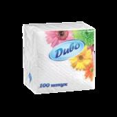 Салфетки бумажные Диво, 240х250 мм, белые, 100 шт (сп.дв24х25/100)