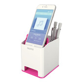 Пластиковая подставка для ручек и смартфона Leitz WOW квадратная, розовый металлик (5363-10-23)