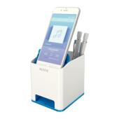 Пластиковая подставка для ручек и смартфона Leitz WOW квадратная, синий металлик (5363-10-36)