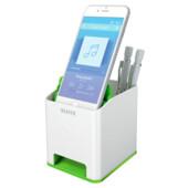 Пластиковая подставка для ручек и смартфона Leitz WOW квадратная, зеленый металлик (5363-10-54)