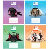 Тетрадь Мрії Збуваються Собаки в наушниках B5 клетка 24 л (TA5.2411.3033к)